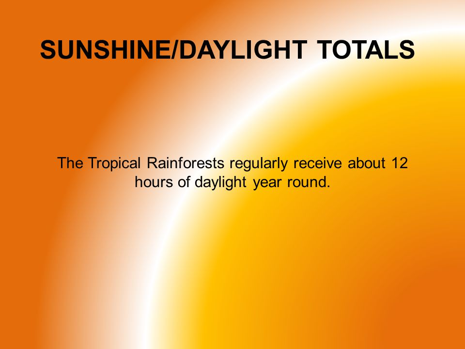 SUNSHINE/DAYLIGHT TOTALS The Tropical Rainforests regularly receive about 12 hours of daylight year round.