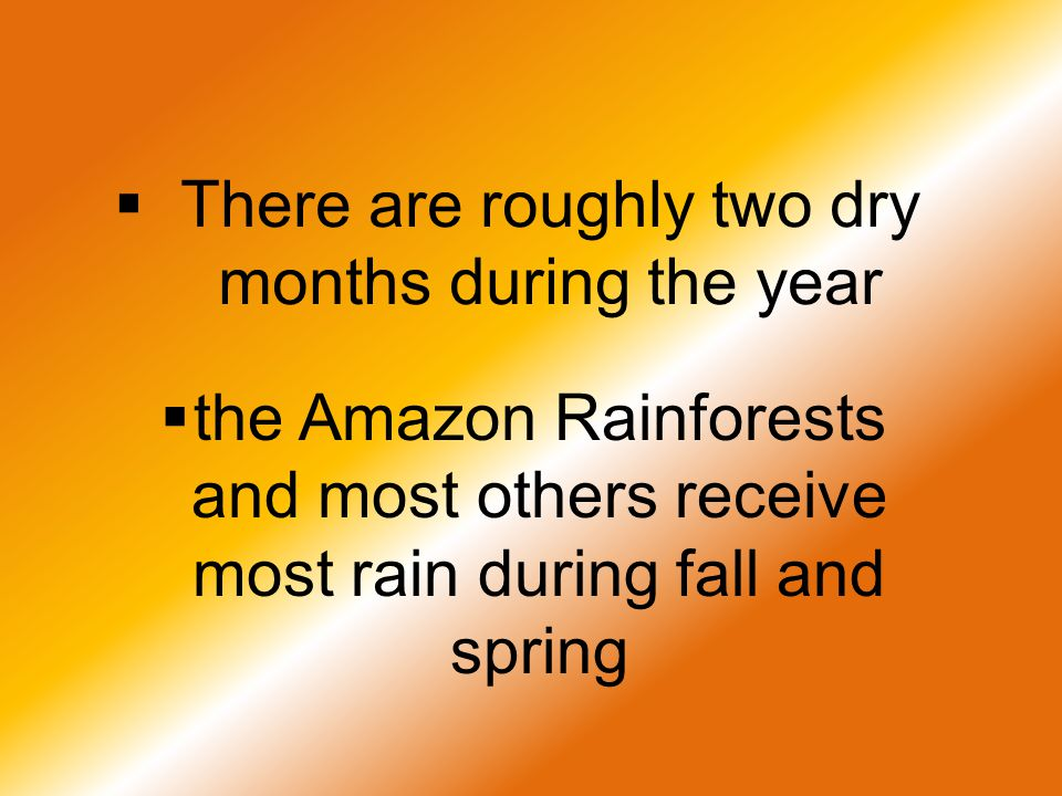  There are roughly two dry months during the year  the Amazon Rainforests and most others receive most rain during fall and spring