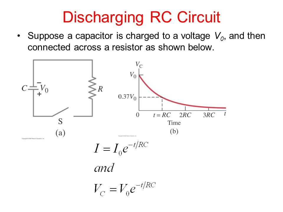 Discharging RC Circuit Suppose a capacitor is charged to a voltage V 0, and then connected across a resistor as shown below.