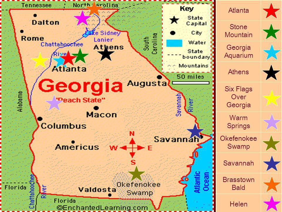 Atlanta Stone Mountain Georgia Aquarium Athens Six Flags Over Georgia Warm Springs Okefenokee Swamp Savannah Brasstown Bald Helen
