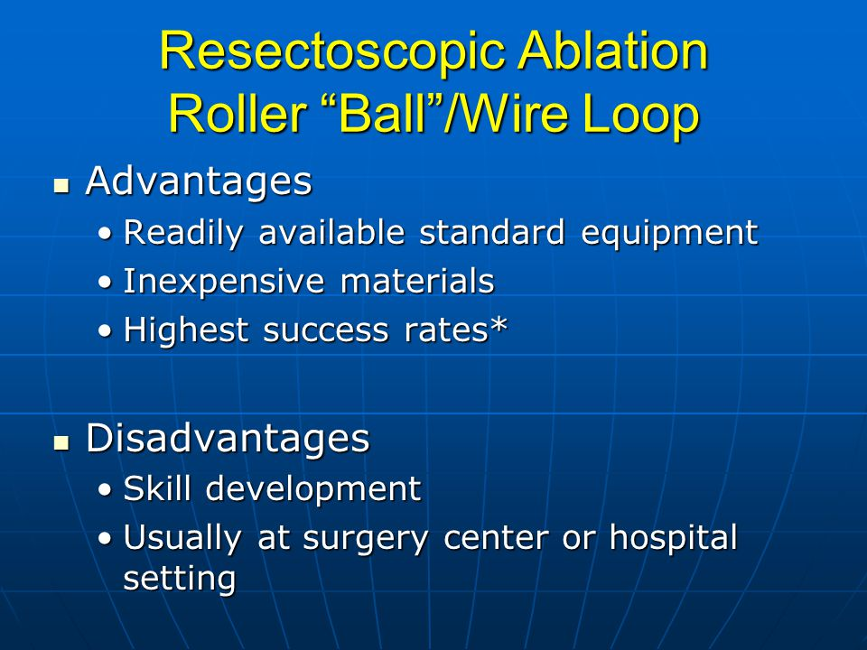 Resectoscopic Ablation Roller Ball /Wire Loop Advantages Advantages Readily available standard equipmentReadily available standard equipment Inexpensive materialsInexpensive materials Highest success rates*Highest success rates* Disadvantages Disadvantages Skill developmentSkill development Usually at surgery center or hospital settingUsually at surgery center or hospital setting