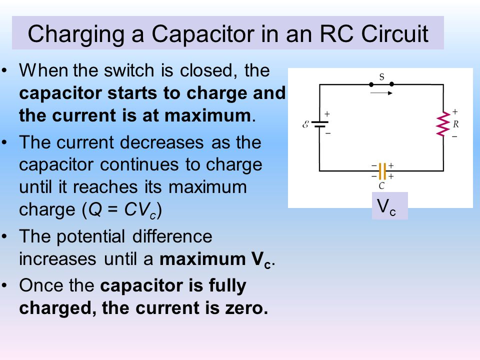 Charging a Capacitor in an RC Circuit When the switch is closed, the capacitor starts to charge and the current is at maximum.
