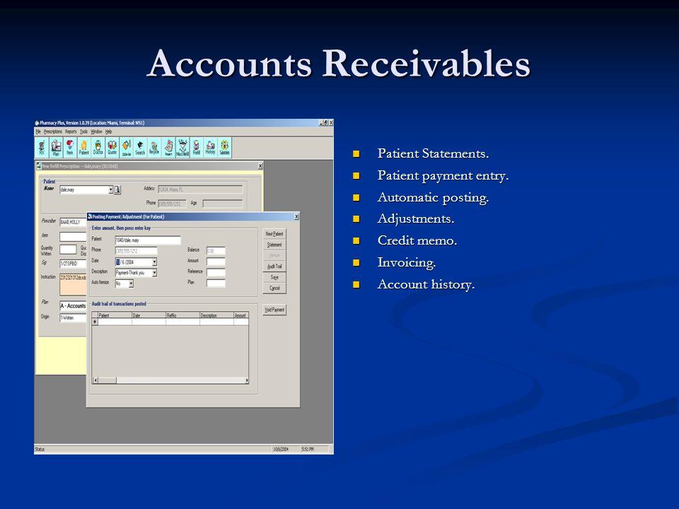 Accounts Receivables Patient Statements. Patient payment entry.