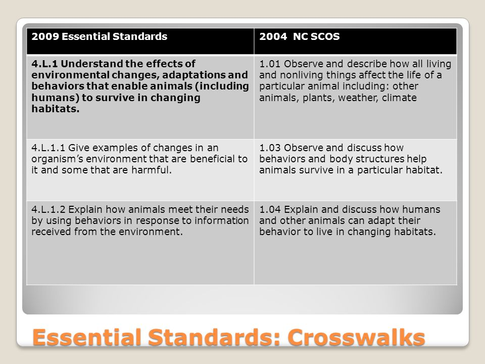 Essential Standards: Crosswalks 2009 Essential Standards2004 NC SCOS 4.L.1 Understand the effects of environmental changes, adaptations and behaviors that enable animals (including humans) to survive in changing habitats.