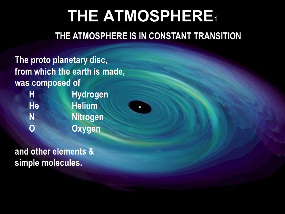 The proto planetary disc, from which the earth is made, was composed of HHydrogen HeHelium NNitrogen OOxygen and other elements & simple molecules.