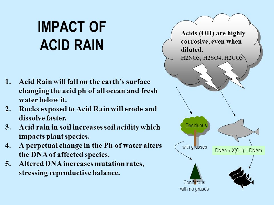 H2NO3, H2SO4, H2CO3 1.Acid Rain will fall on the earth's surface changing the acid ph of all ocean and fresh water below it.