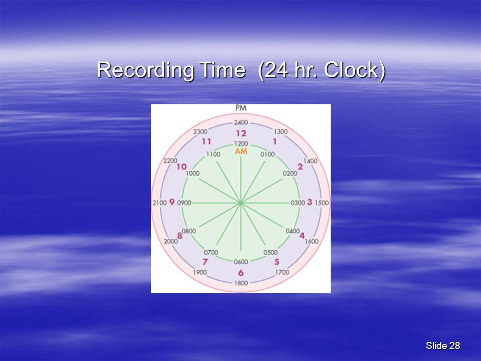 Slide 28 Recording Time (24 hr. Clock)