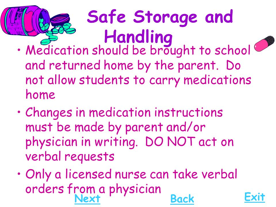 Safe Storage and Handling Medication should be brought to school and returned home by the parent. Do not allow students to carry medications home Chan