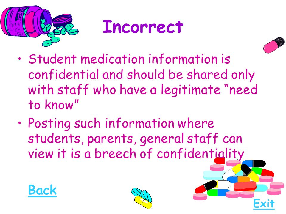 "Incorrect Student medication information is confidential and should be shared only with staff who have a legitimate ""need to know"" Posting such inform"