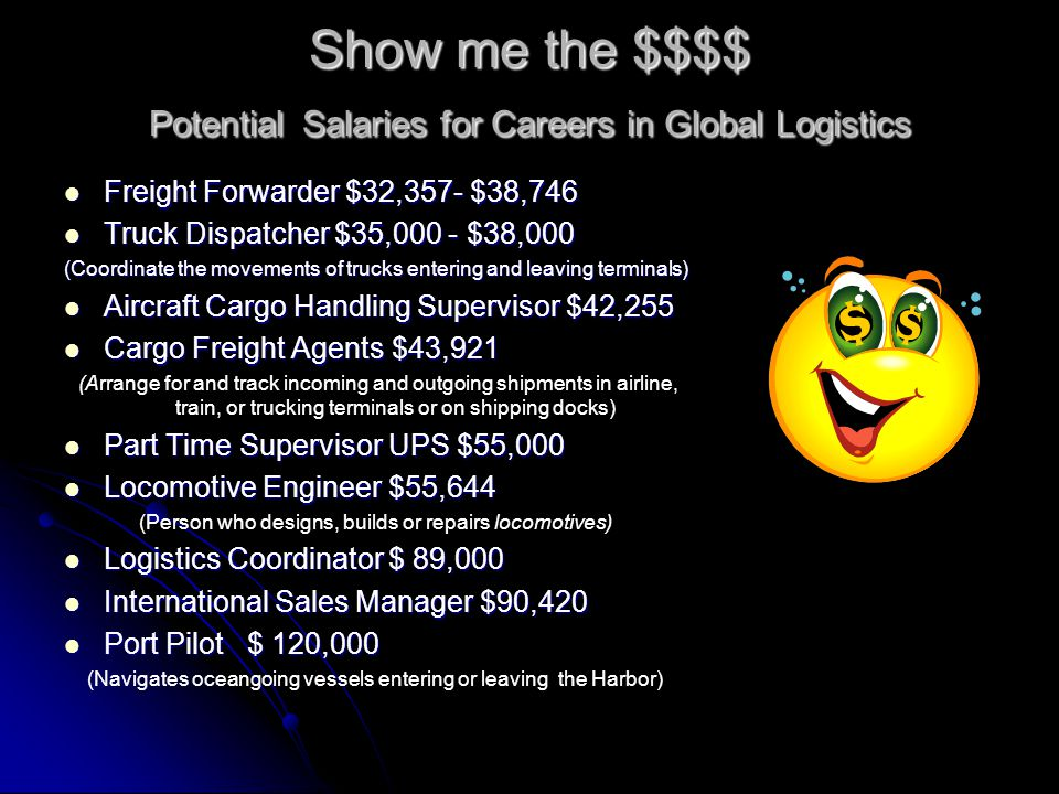 Show me the $$$$ Potential Salaries for Careers in Global Logistics Freight Forwarder $32,357- $38,746 Freight Forwarder $32,357- $38,746 Truck Dispat