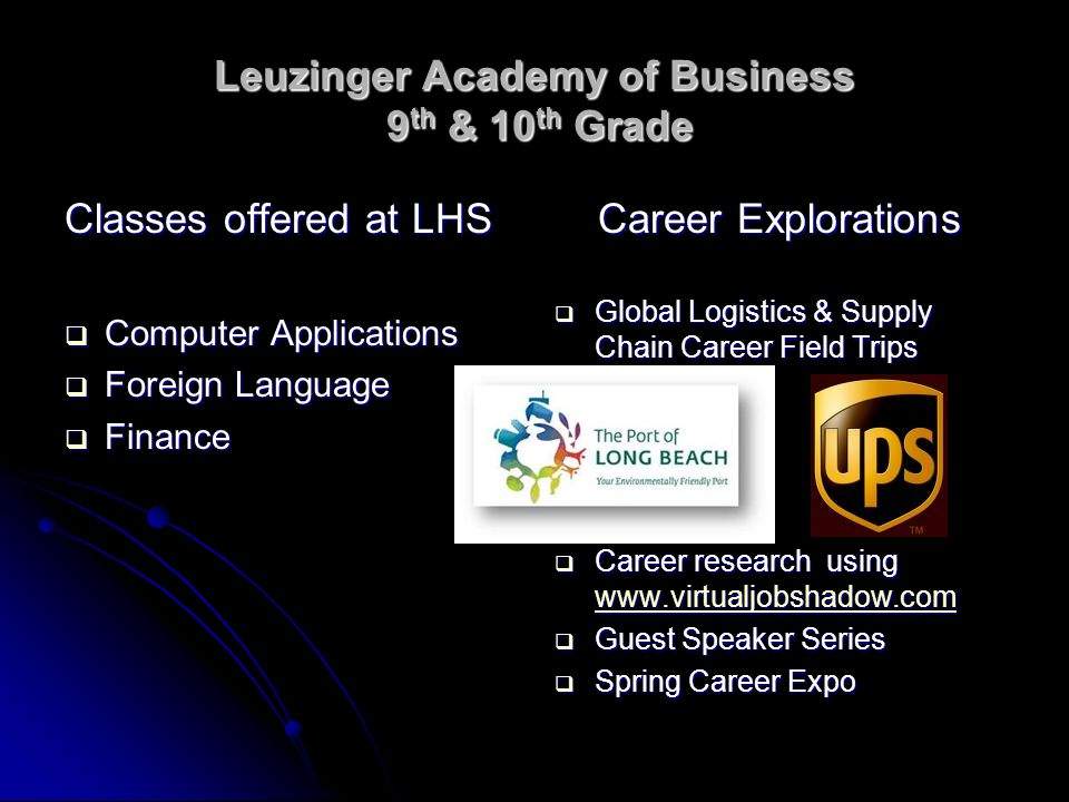 Leuzinger Academy of Business 9 th & 10 th Grade Classes offered at LHS  Computer Applications  Foreign Language  Finance Career Explorations  Glo