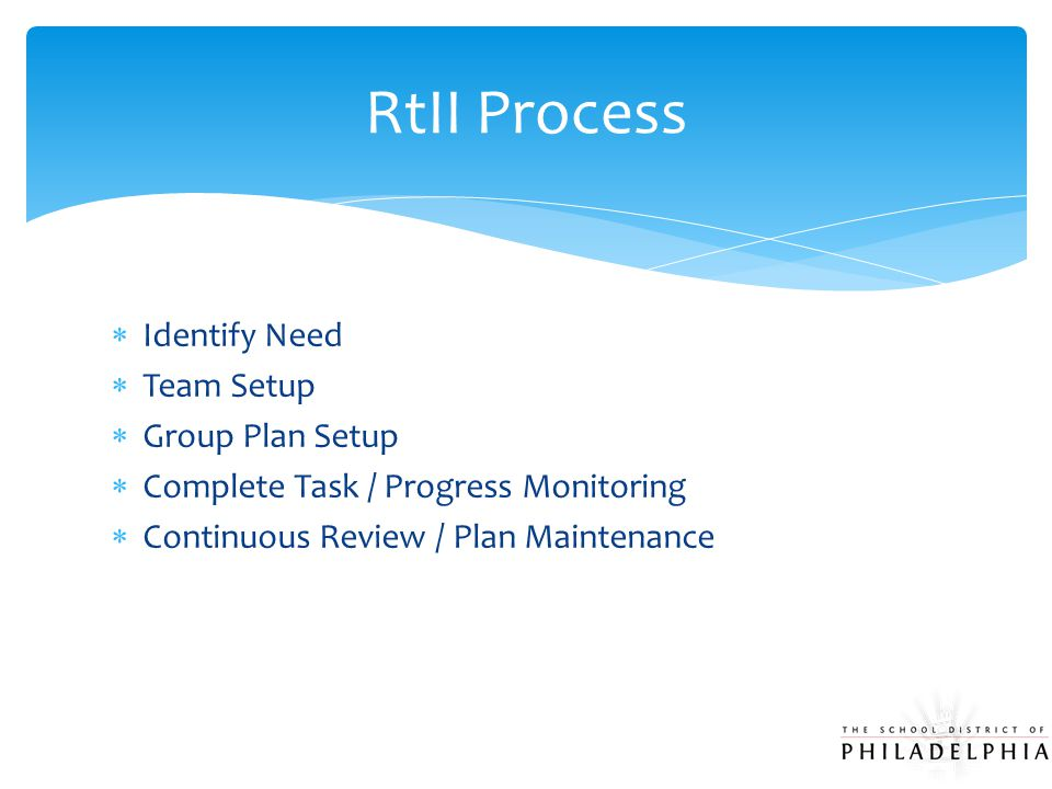  Identify Need  Team Setup  Group Plan Setup  Complete Task / Progress Monitoring  Continuous Review / Plan Maintenance RtII Process