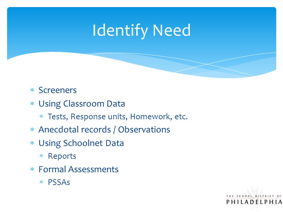  Screeners  Using Classroom Data  Tests, Response units, Homework, etc.  Anecdotal records / Observations  Using Schoolnet Data  Reports  Forma