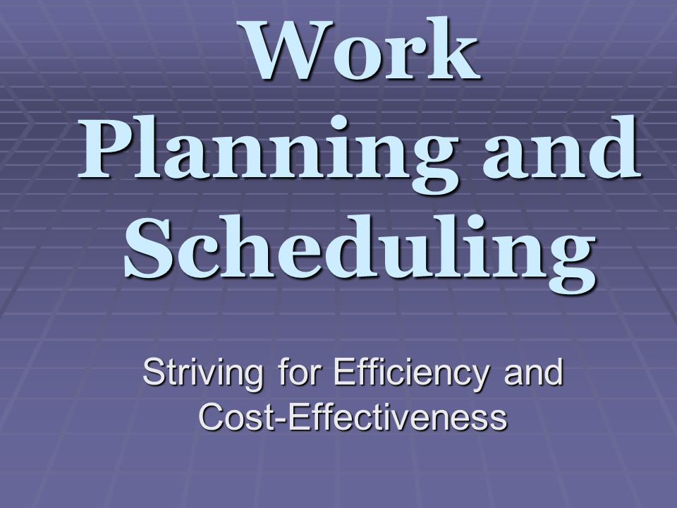 Work Planning and Scheduling Striving for Efficiency and Cost-Effectiveness