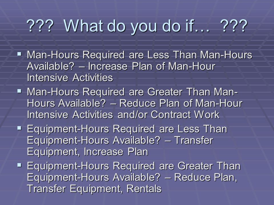 ??? What do you do if… ???  Man-Hours Required are Less Than Man-Hours Available? – Increase Plan of Man-Hour Intensive Activities  Man-Hours Requir