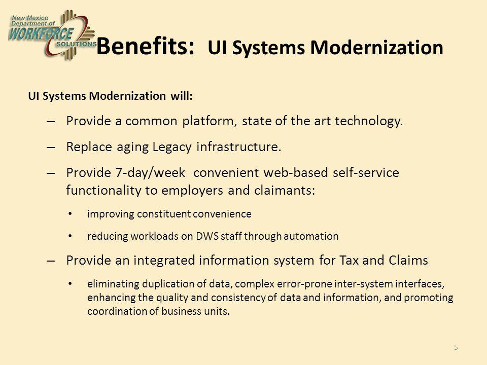 Benefits: UI Systems Modernization UI Systems Modernization will: – Provide a common platform, state of the art technology.