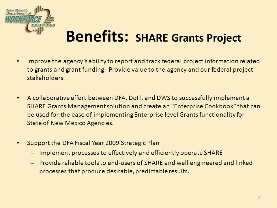 SHARE Grants Project – A DWS SHARE project with multi-agency stakeholders with a high level of collaboration and oversight.