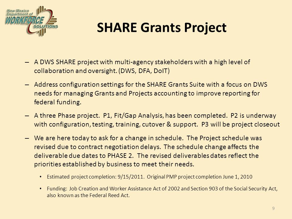 Budget : SHARE Grants Project Total Project Expended Encumbered % Remaining $1,700,000.00 $ 307,083.00 $1,392,917.00 0% 10