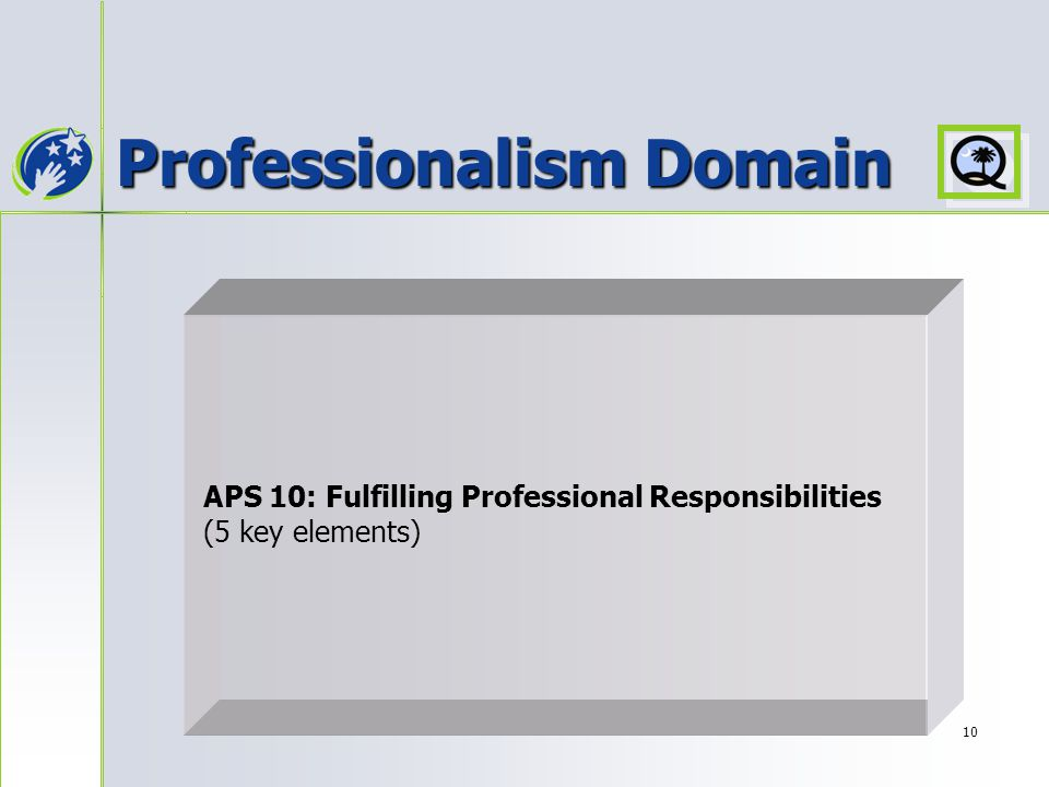 10 Professionalism Domain APS 10: Fulfilling Professional Responsibilities (5 key elements)