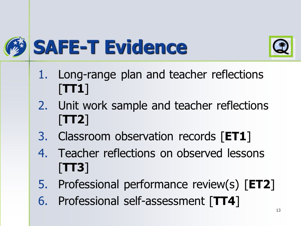 13 SAFE-T Evidence 1. 1.Long-range plan and teacher reflections [TT1] 2.