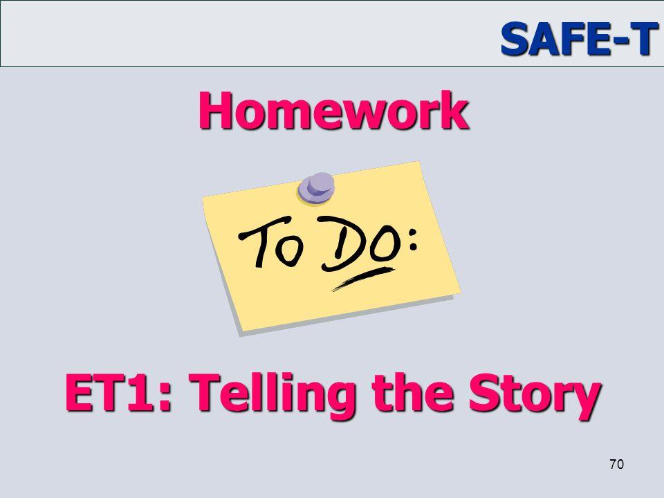 SAFE-T 70 Homework ET1: Telling the Story