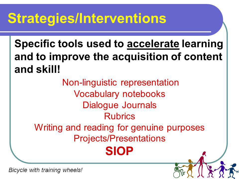 Strategies/Interventions Specific tools used to accelerate learning and to improve the acquisition of content and skill.