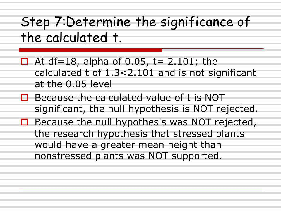 Step 7:Determine the significance of the calculated t.