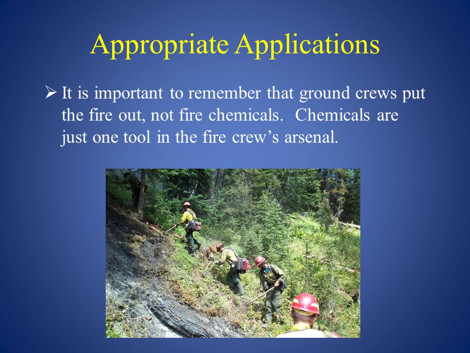Appropriate Applications  It is important to remember that ground crews put the fire out, not fire chemicals. Chemicals are just one tool in the fire