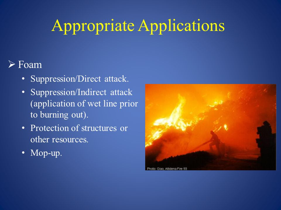 Appropriate Applications  Gel Suppression/Direct attack.