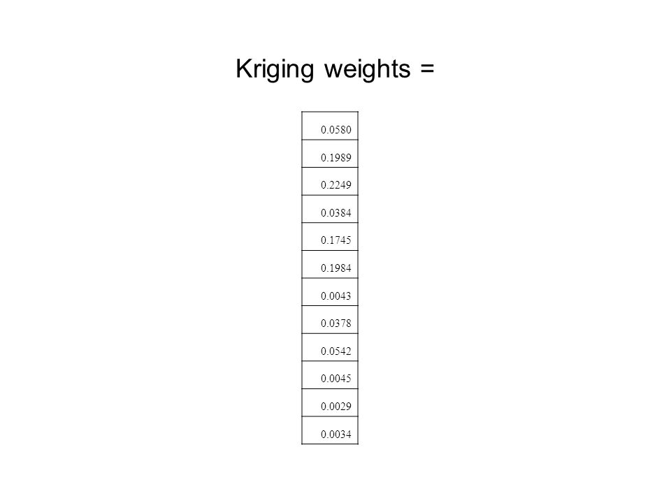 Kriging weights = 0.0580 0.1989 0.2249 0.0384 0.1745 0.1984 0.0043 0.0378 0.0542 0.0045 0.0029 0.0034