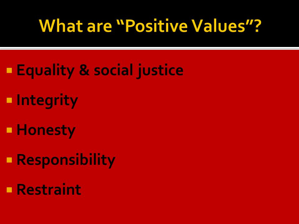  Equality & social justice  Integrity  Honesty  Responsibility  Restraint