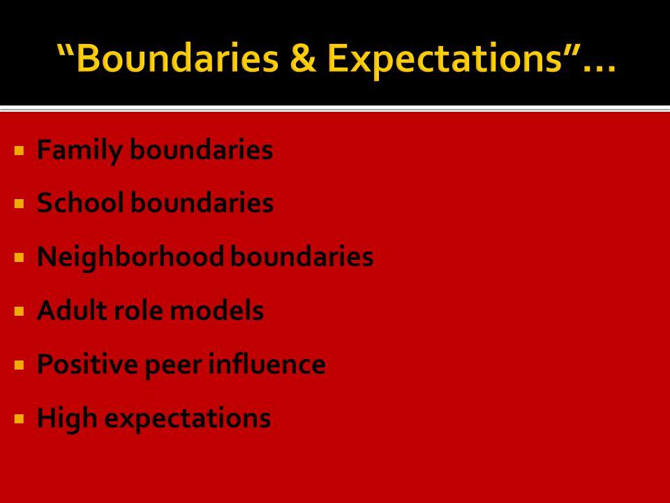 Family boundaries  School boundaries  Neighborhood boundaries  Adult role models  Positive peer influence  High expectations