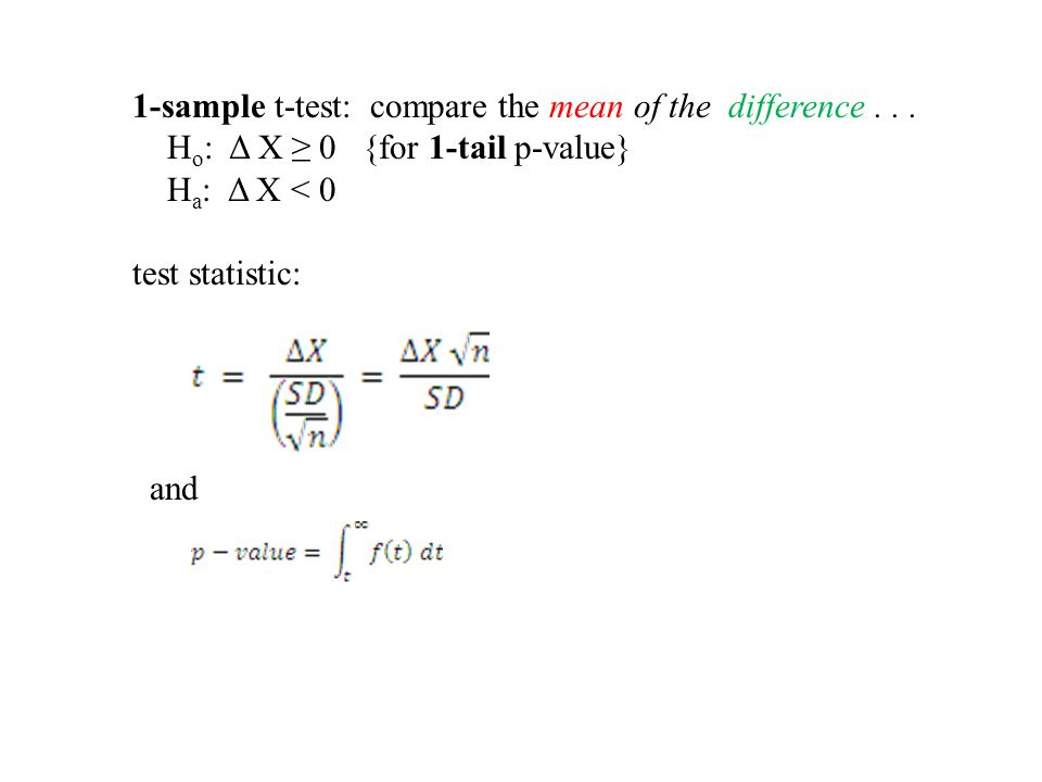 1-sample t-test: compare the mean of the difference...