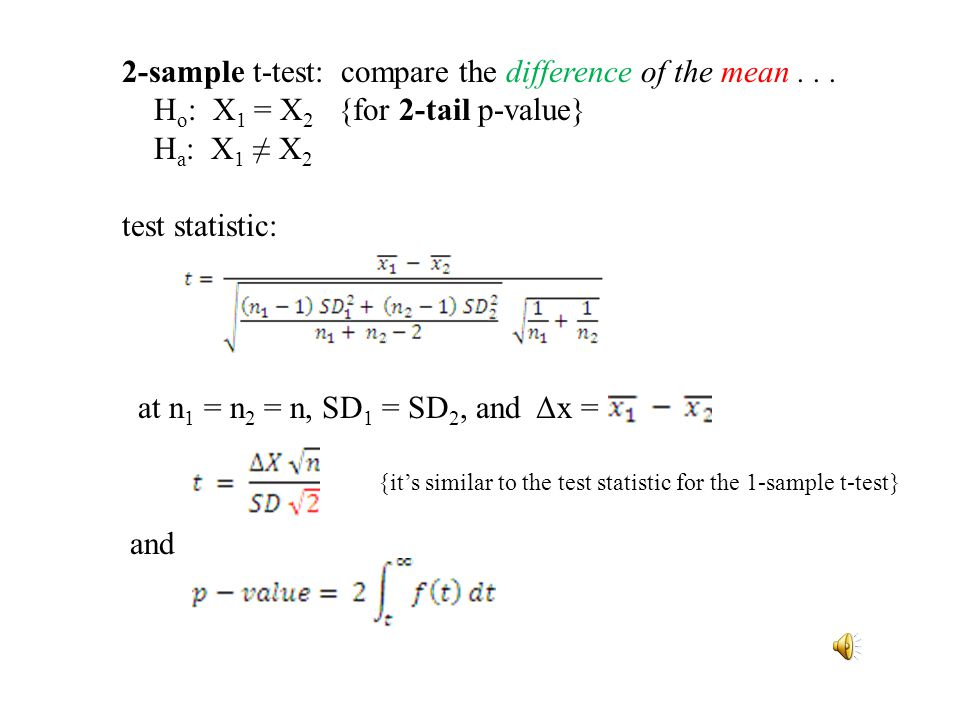 2-sample t-test: compare the difference of the mean...