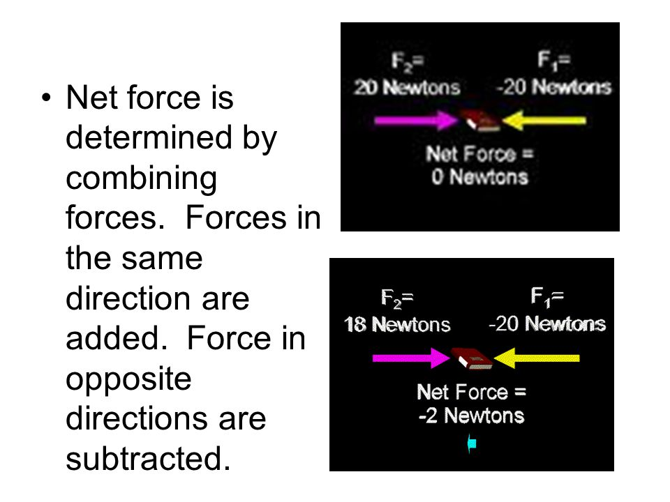 Net force is determined by combining forces. Forces in the same direction are added.