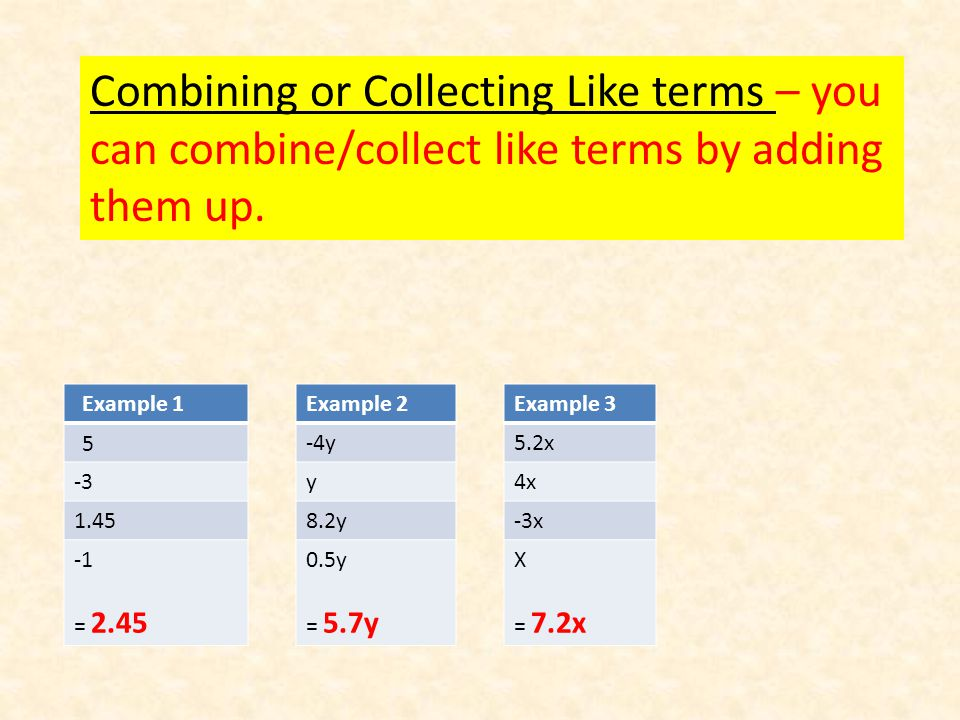 Combining or Collecting Like terms – you can combine/collect like terms by adding them up.