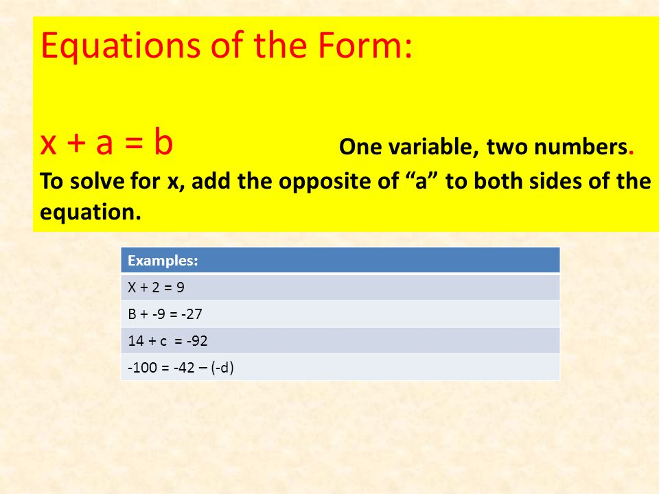 Equations of the Form: x + a = b One variable, two numbers.
