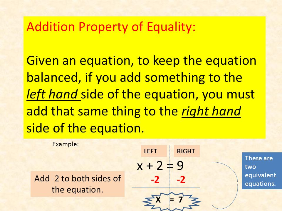 Addition Property of Equality: Given an equation, to keep the equation balanced, if you add something to the left hand side of the equation, you must add that same thing to the right hand side of the equation.