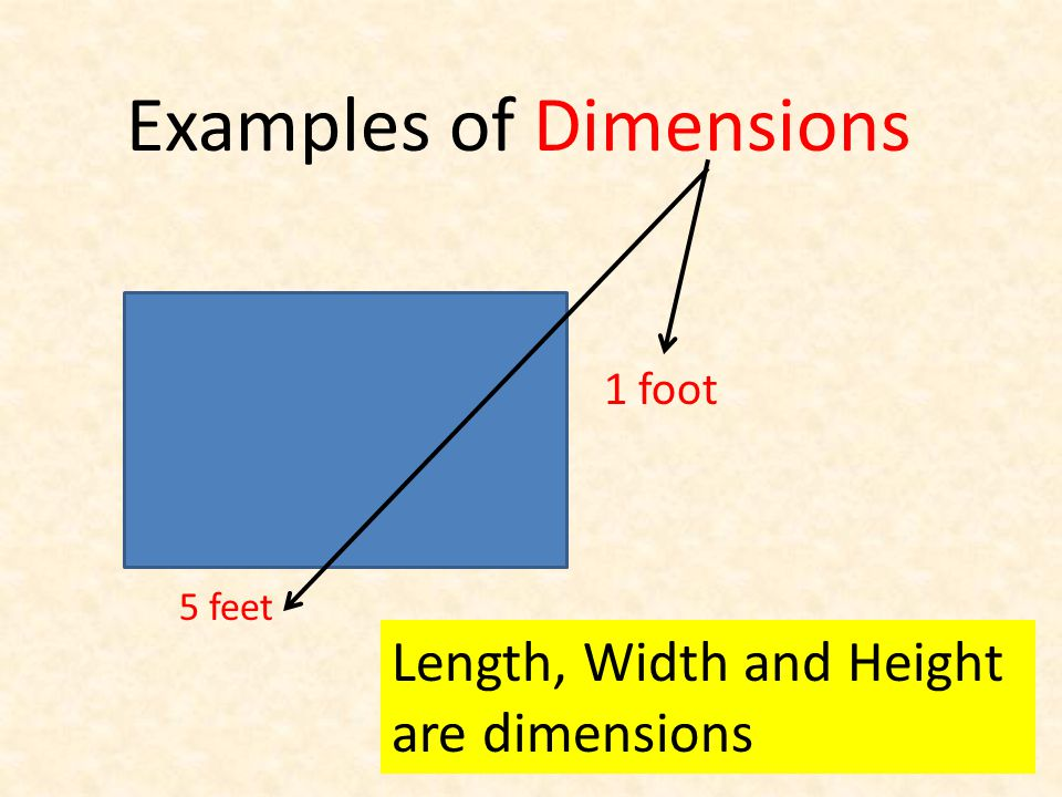 Examples of Dimensions 1 foot 5 feet Length, Width and Height are dimensions