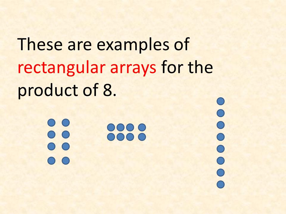 These are examples of rectangular arrays for the product of 8.