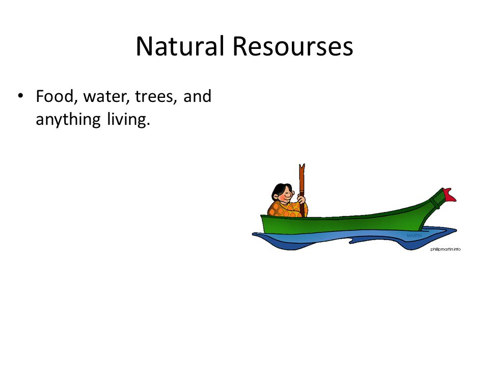 Food, water, trees, and anything living. Natural Resourses