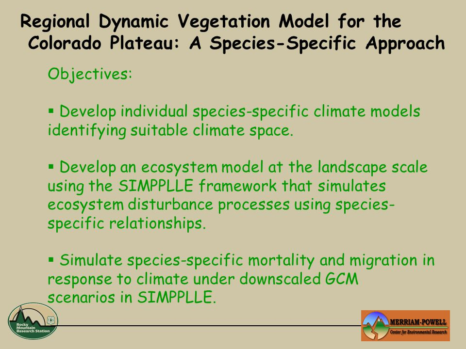 Objectives:  Develop individual species-specific climate models identifying suitable climate space.