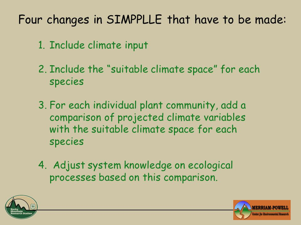 1.Include climate input 2.Include the suitable climate space for each species 3.For each individual plant community, add a comparison of projected climate variables with the suitable climate space for each species 4.