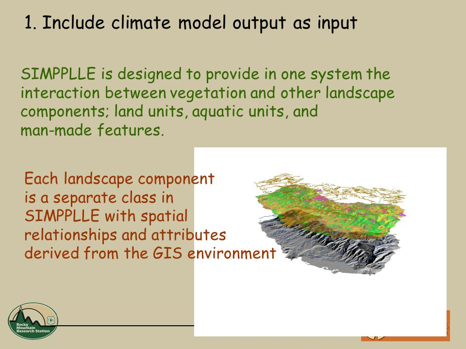 SIMPPLLE is designed to provide in one system the interaction between vegetation and other landscape components; land units, aquatic units, and man-made features.