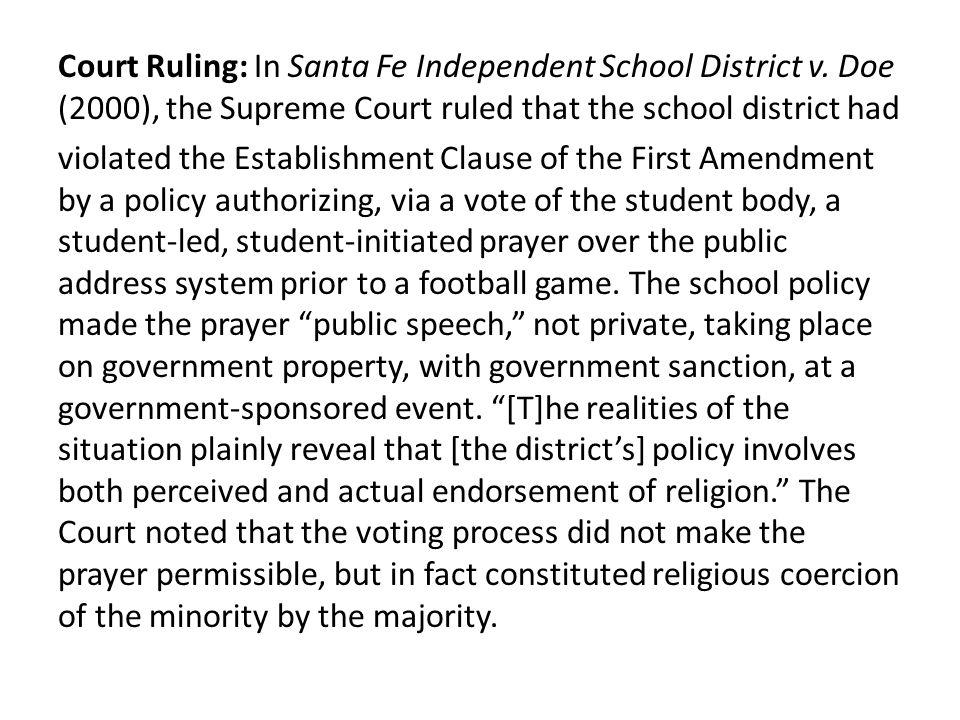 Court Ruling: In Santa Fe Independent School District v.