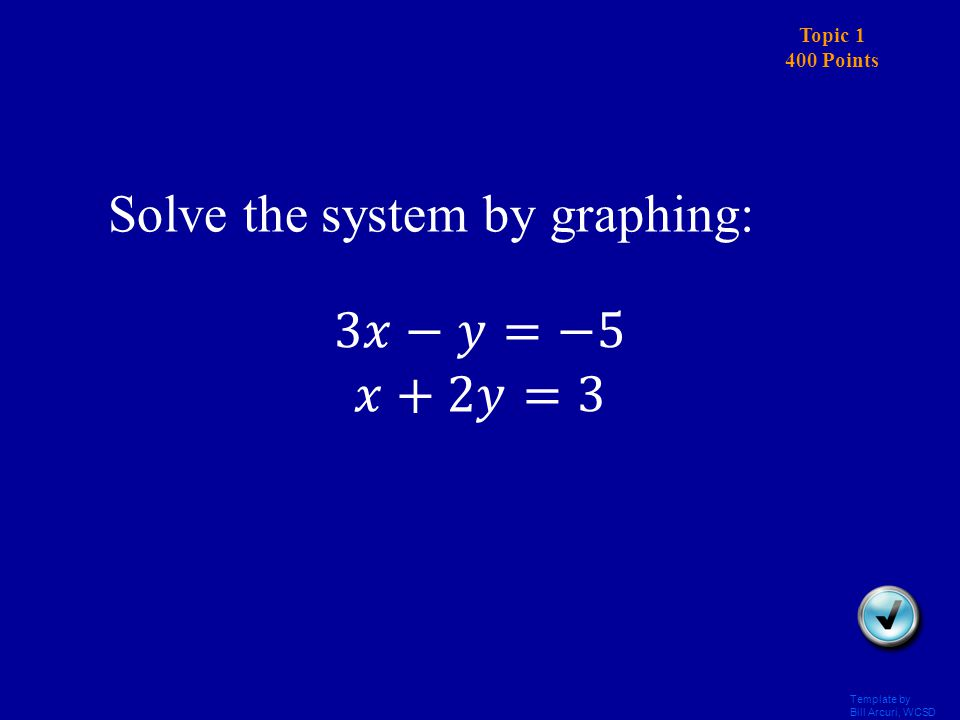 Template by Bill Arcuri, WCSD Topic 1 300 Points Answer Solve the system by graphing: (2,1)