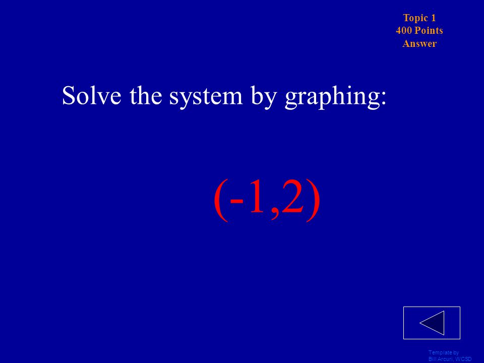 Template by Bill Arcuri, WCSD Topic 1 400 Points Solve the system by graphing: