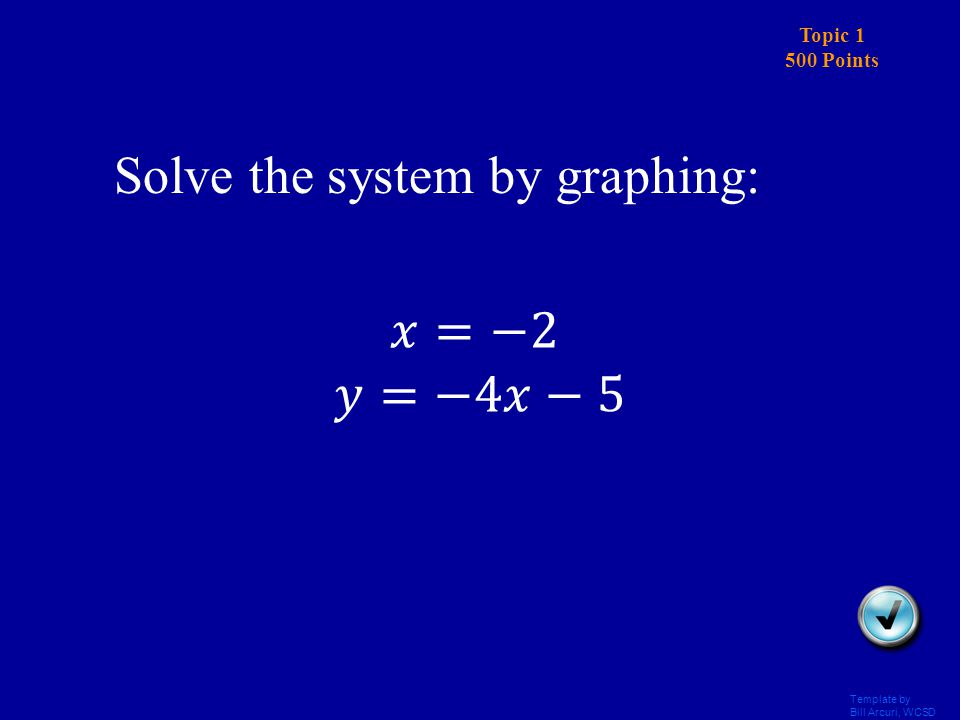 Template by Bill Arcuri, WCSD Topic 1 400 Points Answer Solve the system by graphing: (-1,2)