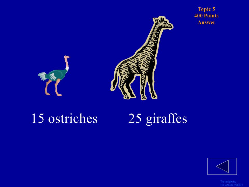 Template by Bill Arcuri, WCSD Topic 5 400 Points Betty and Bob went on a Safari.