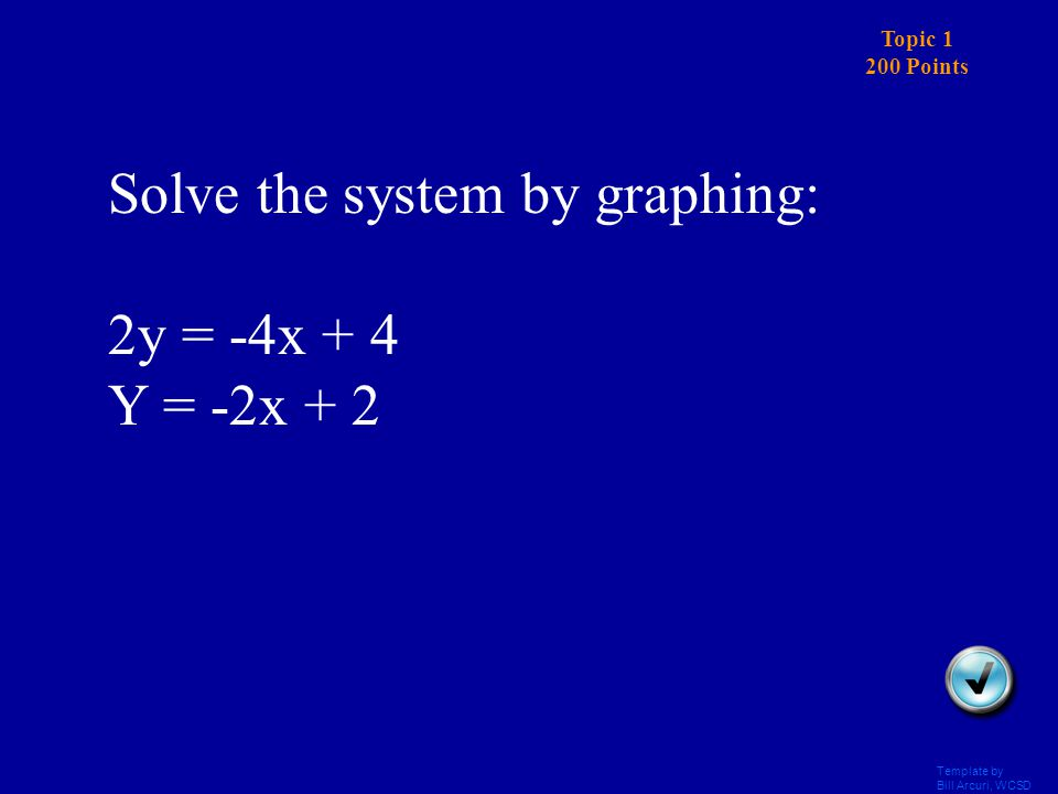 Template by Bill Arcuri, WCSD Topic 1 100 Points Answer Solve the system by graphing: NO SOLUTION, lines are parallel